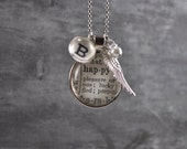Vintage One Word Necklace B HAPPY with charms