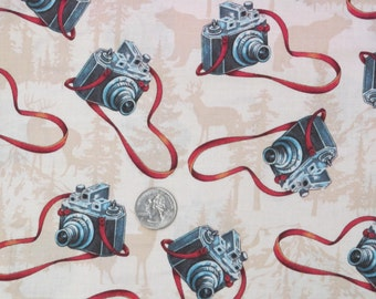 Camera Fabric w/Deer,Bears, and Mountains-Great for Travel Quilts-Curtains-Home Decor-Aprons-etc-7.50/yd