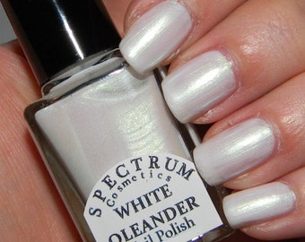 WHITE OLEANDER White Iridescent  Nail Polish