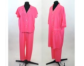 1960s pajamas hot pink nylon pajamas and robe by Sears Size S/M
