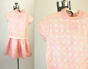 1960s girls dress pink party dress nylon chiffon dress embroidered drop waist Size 12