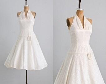 vintage 1950s lace dress  • wedding 50s dress  • 1950s halter party dress •