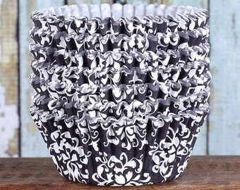 Black Damask Cupcake Liners, Black Damask Cupcake Wrappers, Cupcake Cases, Stay Bright Greaseproof Cupcake Liners, Black Baking Cups (50)