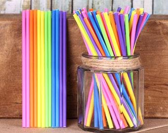 "6"" Bright Rainbow Lollipop Sticks, Rainbow Cake Pop Sticks, Marshmallow Pop Sticks, Sucker Sticks, Lolly Sticks, Unicorn Cake Pop Sticks"
