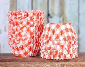 MINI Orange Check Cupcake Liners, Mini Orange Gingham Candy Cups, Mini Orange Picnic Check Treat Cups, Halloween Cupcake Liners (100)