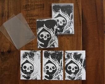 Baby Death Linocut Block Print Trading Card