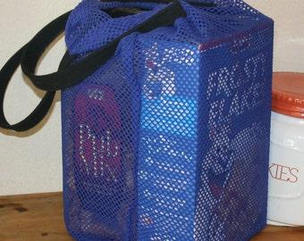 Reusable Shopping bag, mesh bag, recycled grocery bag, blue netted market bag, stretchy bag