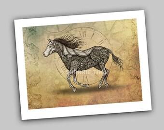 Vintage Steampunk Mechanical Horse Illustration, Art Print, Sale