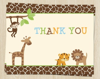 Jungle Safari Birthday Thank You Cards, Lion, Tiger, Giraffe, Set of 24 Folding Notes, FREE Ship, JNGGN, Jungle Birthday
