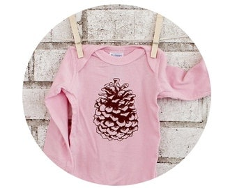 Long Sleeved Pinecone Baby Onepiece, Infant Bodysuit, Cotton Snapsuit, Light Pink, Woodland, Holiday, Pine Cone, Winter