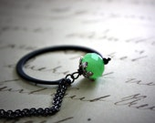 Modern Jade Green Glass and Metal Necklace : Rustic Modern Open Circle Green and Black Sleek Mod Jewelry / Beauty and the Beast in Jade
