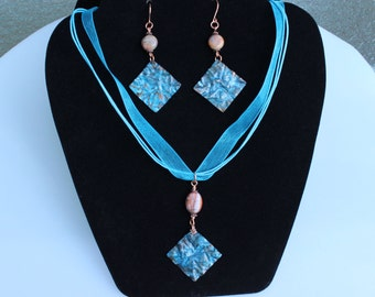 Ocean Blue Copper and Agate Necklace and Earring Set