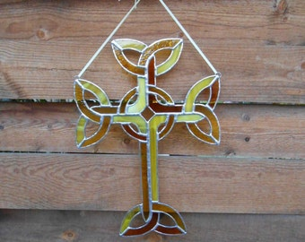 Stained Glass Celtic Cross - Yellow - Amber - Suncatcher - Knotwork Cross - Easter