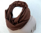 Light Cashmere Silk Infinity Scarf in Chocolate Brown - Men or Women - by Tejidos on Etsy