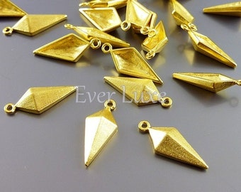 4 small kite charms, matte gold brass findings, jewelry pendants, necklace charms, jewelry making supplies 1905-SG (satin gold, 4 pieces)