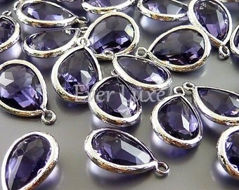 2 purple tanzanite teardrop glass stone in bezel setting pendants, charms for jewelry designs 5073R-TZ (bright silver, tanzanite, 2 pieces)