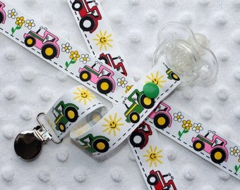 Tractors Pacifier Clip Soothie Gumdrop Holder (Green or Red, Pink Out of Stock)
