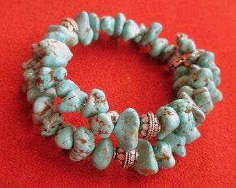 Turquoise Bracelet, Silver Turquoise Bracelet, Wrap Turquoise Bracelets, Wrap Bracelet