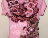 Women's Crochet Ruffle Scarf - pink, rose, accessory, women, scarf, neck warmer, ruffles, Fall, Winter