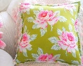 CABBAGE PINK ROSES On Beautiful Green Vintage Chenille Shabby Rag Style Pillow