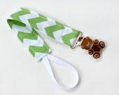 Baby Accessories Binky Clip Pacifier Holder, Green Chevron & Teddy Bear Clip, Baby Girl or Boy Mom Gift Idea, Zig Zag Clip