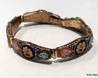 Vintage Glass Floral Mosaic Bracelet in Orange Yellow Green