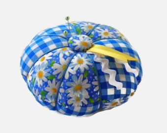 Blue and White Pin Cushion - Blue Pincushion - Sewing Accessory