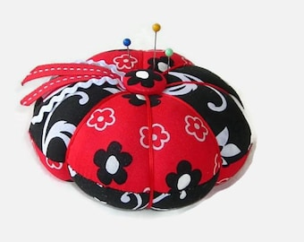 Red and Black Pin Cushion - Needle Cushion - Pincushion - Sewing Accessory - Needle Holder