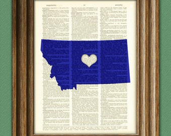 My Heart is in Montana state map awesome upcycled vintage dictionary page book art print