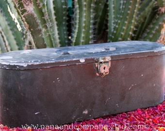 ONE OF A KIND - Vintage Green Metal Military Tool Box - Unique Rounded Ends - Gift Box - Father's Day - Dad's Easter Basket - Craft Storage