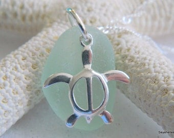 Sterling Silver Honu Turtle with Pastel Green Sea Glass