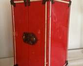 SALE 15% off with coupon, Vintage 1950s red metal doll carrying case suitcase box