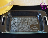 Tree Bark and Carved Heart Engraved Pyrex 7x11 PLUS FREE LID