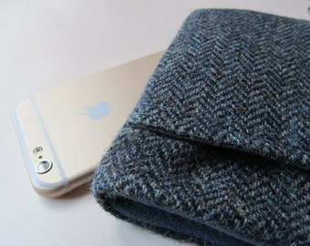 iphone 6 / 7 plus Samsung S5  Harris Tweed Wool - Blue