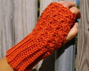 Fingerless Gloves Arm Warmers in Pumpkin Orange Hand Crocheted