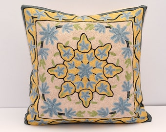 Arabian Nights very beautiful handmade embroidery asian style pillow cover 16x16, black yellow cream blue pillow cover