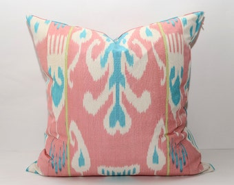 20x20 pink blue ikat cushion cover, pink ikat pillow cover