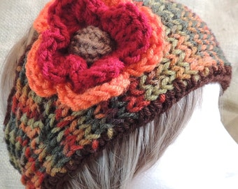 REDUCED PRICE! Variegated Brown Tan Green Rust Burgundy Orange Knit Headband With Crocheted Solid Orange and Burgundy Flower With Tan Center