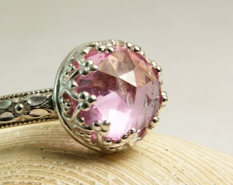 Pink Sapphire Ring, Sterling Silver Jewelry, Floral Band, Enagement Ring, Faceted Gemstone, custom sized