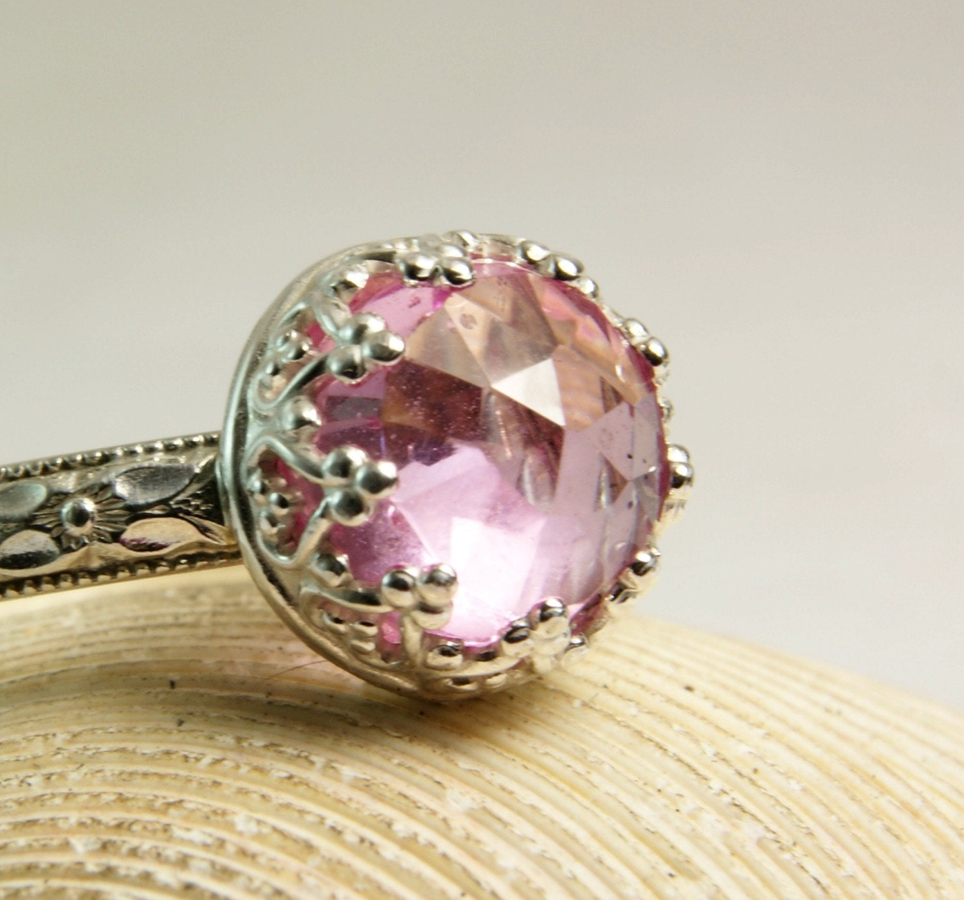 Pink Sapphire Ring Sterling Silver Jewelry Floral Band