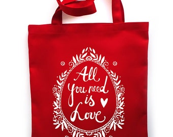 All you need is Love tote bag - srceenprint - red - white