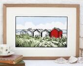 Hand Printed Suffolk Beach Huts Lino Print