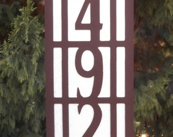 Vertical Arts and Craft address sign, Mission style, Bungalow, House number, Address number, Craftsman style, Street number, Address Plaque
