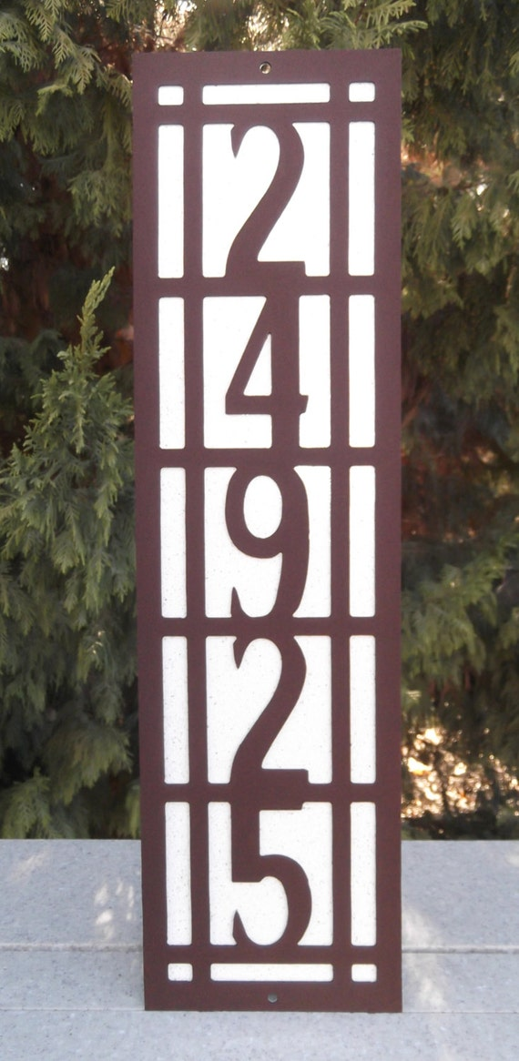 Vertical arts and craft address sign mission style bungalow for Bungalow house numbers