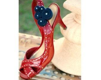 Navy Swirls Shoe Clips. Etsy Handmade Autumn Fashion, Sailor Nautical Marine. Couture Bride Bridal MOH Bridesmaid Party, Teen Fun Gift Idea