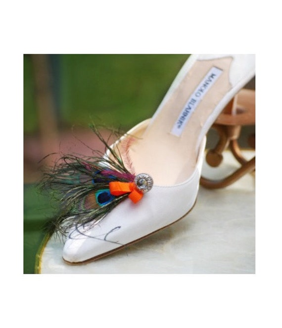 Shoe Clips Double Peacock Feathers & Tangerine Bow. Bride Bridesmaid Maid Honor MOH, Big Day Party Gift, Statement Eggplant Purple Plum Clip