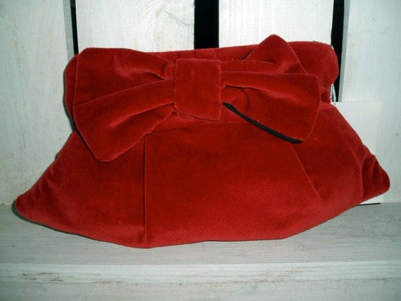 Classic  Red Velvet  Clutch with Bow