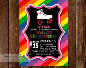 Roller Skate Birthday Invitation, Rainbow Invitation, Roller Skating Birthday Party Invitation, Roller Skate Invite, Skating Party