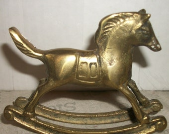 Brass Rocking Horse Totem or Figurine
