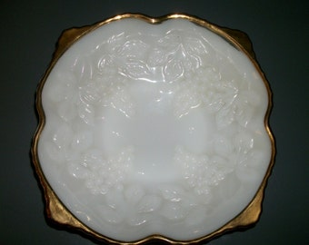 Beautiful Anchor Hocking Grapevine Pattern Milk Glass Footed Dish with Gold Accents